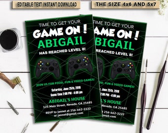 INSTANT DOWNLOAD-Video Game Party Invitations, Video Game Invitation, Video Game Birthday, Gaming Party Invitation, Game Party, PDF