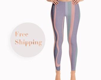 Lilac and Mauve Leggings, Pastel Tights, Gift For Her, Gift For Daughter, Striped Leggings, Boho Leggings, Stretch Pants, Patterned Leggings