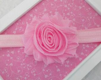 Pink Baby Headband Pink Easter Headband Pink Shabby Flower Headband Pastel Baby Headband Pink Shabby Chic Headband-Newborn Infant Toddler