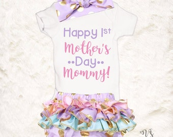 1st Mothers Day Onesie, Baby Girl Mothers Day Outfit, Mothers Day Baby, Mothers Day Gift From Baby, Mothers Day Baby Outfit, Mommys Girl