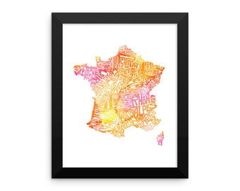 France watercolor typography map art FRAMED print country poster wedding engagement graduation gift anniversary wall art decor francophile