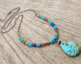 turquoise necklace, December birthstone, turquoise pendant necklace, coral, lapis sterling silver, long necklace, boho necklace, western