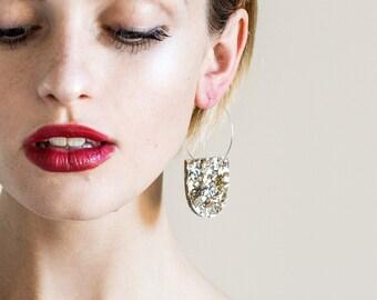 Yoo Hoops - Lush Glitter - Laser Cut Glitter Hoop Earring - Silver and Gold