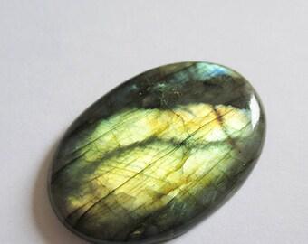 Labradorite - ref63135 - undrilled - 45x32x6mm (blue green gold highlights)