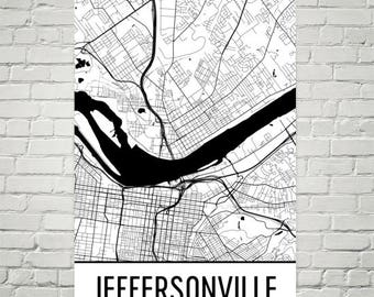Jeffersonville Map, Jeffersonville Art, Jeffersonville Print, Jeffersonville IN Poster, Wall Art, Gifts, Map of Indiana, Poster, Decor