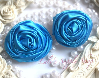 "2"" Large Satin Ribbon Roses - Set of Two - Rolled Rosettes - Turquoise Satin Rolled Rosettes - Large Satin Roses - Turquoise Satin Flowers"