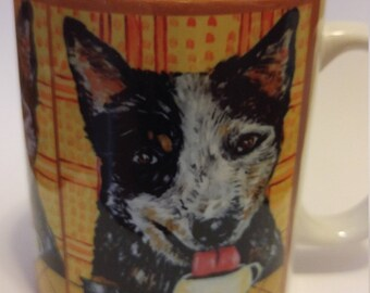 australian cattle dog at the Coffee shop 11 oz mug cup gift dog art artwork