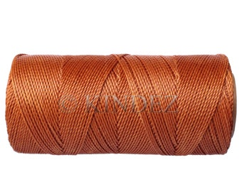 Waxed Polyester Cord, 15 meters/16 yards Knotting Cord, Bracelet Cord - Copper