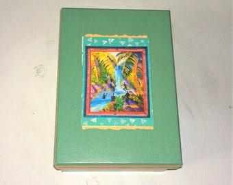 "Tropical Turquoise Beach Theme Cardboard Trinket Box   3 1/2"" H x 6"" W x 8 1/2"" D - Decoupaged Dolphin Mandalas"
