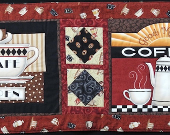 Coffee themed quilted tablerunner