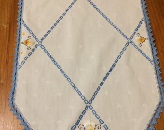 Vintage Doily, White, Blue, and Yellow Embroidered Floral Placemat, Tabletopper