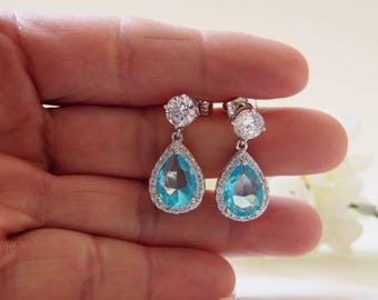 Teardrop Aqua Colored Glass Earrings, 7MM Studs, 925 Sterling Silver Post, Wedding Jewelry, Dangle  CZ Earrings, Bridesmaid, Gifts - 17S15E