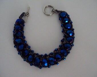 Sapphire Crystal Flat Spiral Stitch Bracelet