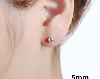 925 Sterling Silver OR Rose Gold Filled Solid Round Ball Beads Cartilage Piercing Stud Earrings