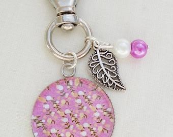 Cabochon pink liberty flower bag charm