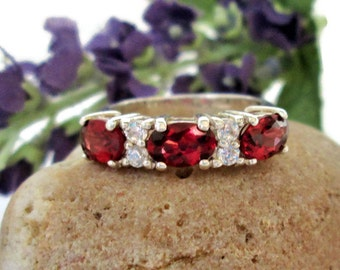 Vintage Garnet & CZ Ring, Sterling Silver, Size 5, Signed JC,  ,Elegant Prong Set Band Ring, Stacking Gemstone Ring