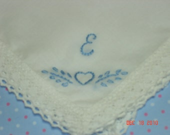 Wedding handkerchief/something blue/heart and initial/hand embroidered/wedding colors welcome