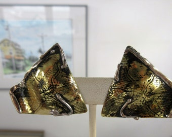 STERLING & BRASS Clip On EARRINGS-Arts And Crafts Design-Handmade Signed