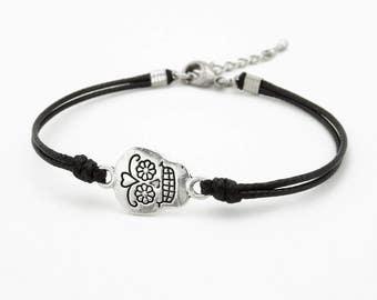 Sugar Skull Bracelet, Black Cord Bracelet,  Skull Jewelry, Waxed Cord Bracelet