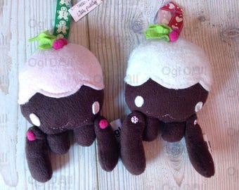 x2 Cute Plush Xmas Pudding, Kawaii Plush Tree Decoration, Kawaii Christmas Pudding Decoration, Kawaii Plush Tree Decoration, Cute Kids Plush