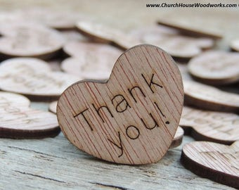 """100 Thank you! 1"""" Wood Hearts, Wood Confetti Engraved Love Hearts- Rustic Wedding Decor- Table Decorations- Small Wooden Heart"""