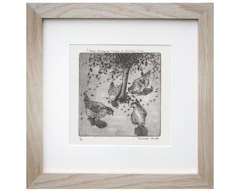 Hen Etching- 'Hens Foraging Under A Spindle Tree' - Hen Illustration - Charlotte Mudd - Muddillustration