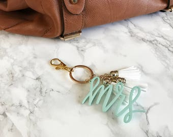 MRS Keychain with 3 Mini Tassels   Gold or Silver Accent   MRS in multiple colors   Gift Tag   Bridal Shower   Bride   Newlywed   Leather
