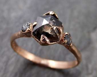 Fancy cut salt and pepper Diamond Engagement 14k Rose Gold Multi stone Wedding Ring Stacking Rough Diamond Ring byAngeline 1092