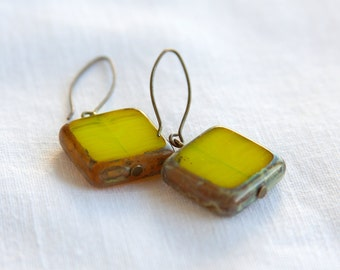 Marigold Antique Earrings, Czech Glass Beads, Brass, Neo Vintage Jewelry