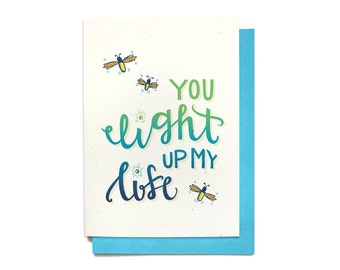 Romantic Love Card - Anniversary Card - You Light Up My Life - Love Card Him - Best Friend Gift - LV7