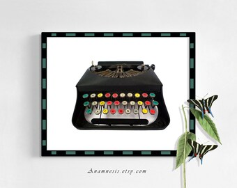 Printable BLACK TYPEWRITER Instant Digital Download - graphic vintage image for framing or image transfer to totes, cards, pillows, etc.