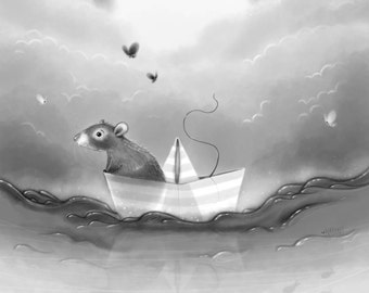 To where you are, Artprint. Monochrome, black and white, nautical painting, nursery art, nursery painting, butterflies, paper boat, rat art