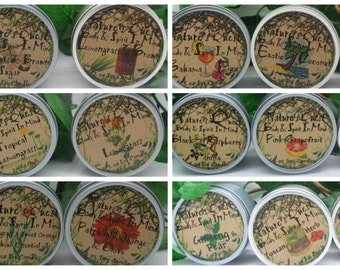 Single Candle from any three scents from scent categories.  List under comment section when placing order.