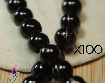 100 beads black glass shiny 6 mm with features Golden A133