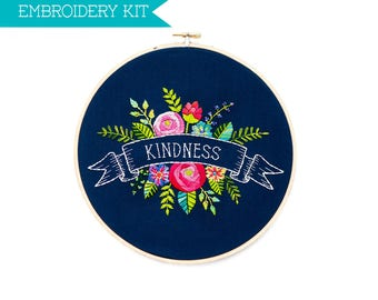 DIY Embroidery Kit, Flower Embroidery Pattern, PDF Pattern, Floral Embroidery Design, Flower Pattern, One Word, Hand Embroidery, Hoop Art