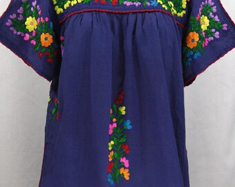 """Mexican Peasant Top Blouse Hand Embroidered: """"Lijera"""" Denim Blue + Multi Color Rainbow Embroidery ~ Size MEDIUM"""