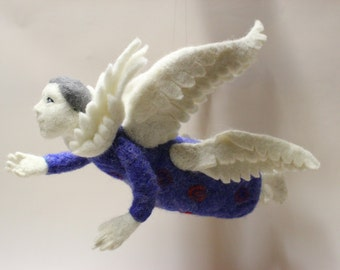 Needle felted Jewish Angel. Handmade. Miniature, Soft Sculpture, Art Doll,Christmas Home Decor, 3 sets of wings