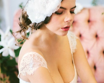 Handmade Silk Flower and Lace Headband, Hand Beaded Venice Lace Headpiece #207HB