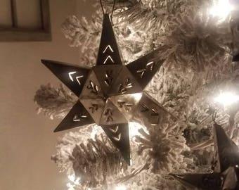 Mexican Tin Folk Art Star Ornaments Large