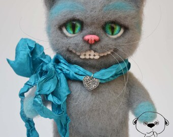 Cheshire Cat. Needle Felted toy.