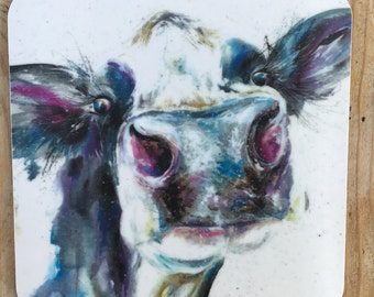 Designer Dairy watercolour cow printed COW ART  Coaster by Nicola Jane Rowles made in UK