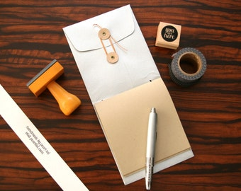 Handmade Mini Notebook: Button & String Envelope Pocket Travel Scrapbook Memo Pad Jotter - Silver Metallic Single Pocket Cover