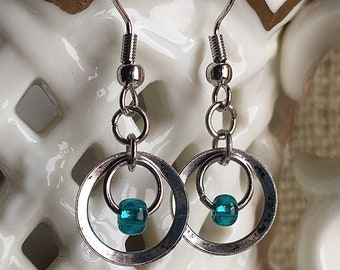 Rustic Antique Silver Circle Earrings Eclectic Silver Earrings Blue Beaded Antique Silver Hoop Earrings Rustic Antique Silver Circular Hoops
