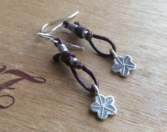 Boho Leather and Hills Tribe Dangle Earrings