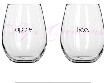 Apple/Tree, mother/daughter stemless wine glass set, mother's day gift