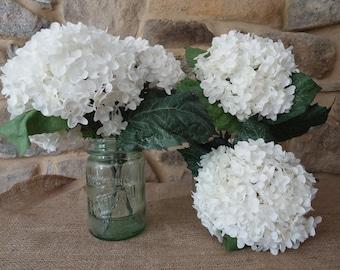 White Hydrangeas 6 Silk flowers, summer wedding supplies, Crafting Flowers, Artificial Flowers, Silk Flowers, large white flowers, Crafts