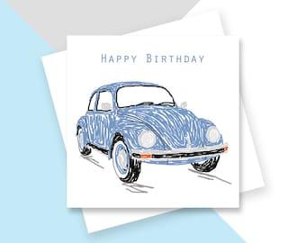 Blue Beetle Happy Birthday greetings card