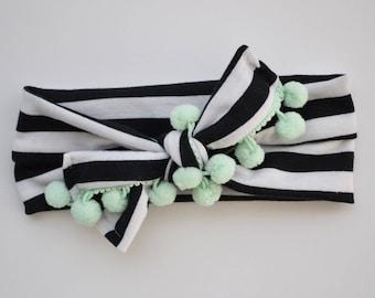 Pom Pom Headband - knit headband, headbands for women, cute headbands, poms, mommy and me clothing, knotted headband, girls headbands
