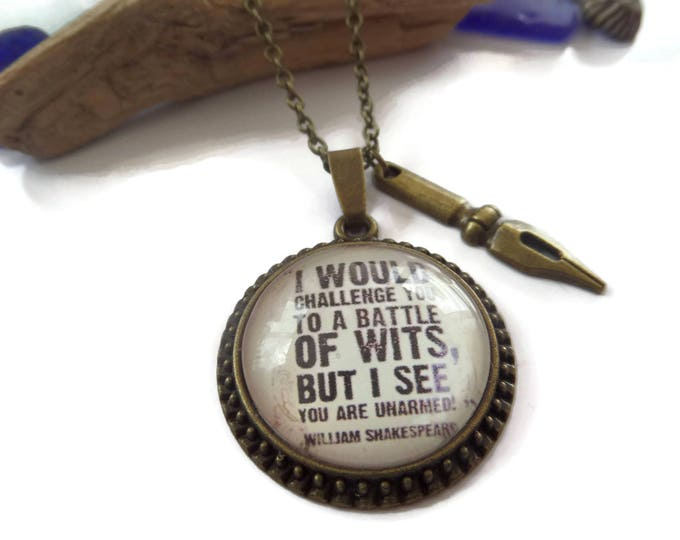 Shakespeare gift, battle of wits, shakespeare quote, writer gift, author gift, shakespeare keyring, xmas gift, birthday gift, fan gift