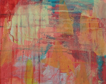 Red Papaya 1 // By Visual Artist Charlie Albright from the Moments by Charlie Blog and Online Shop // Abstract Art in Acrylic Paint
